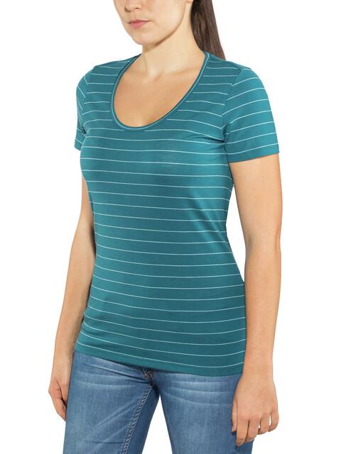 Icebreaker Tech Lite SS Scoop Shirt Women Kingfisher/Dew/Stripe